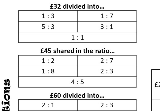 Dividing into a Ratio - Four in a Row