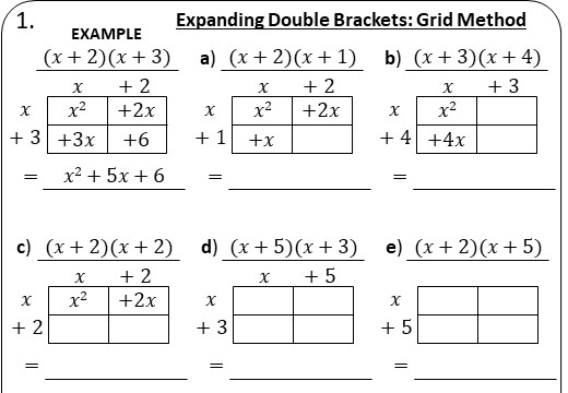Double Brackets - Expanding - Without Coefficients - Worksheet B