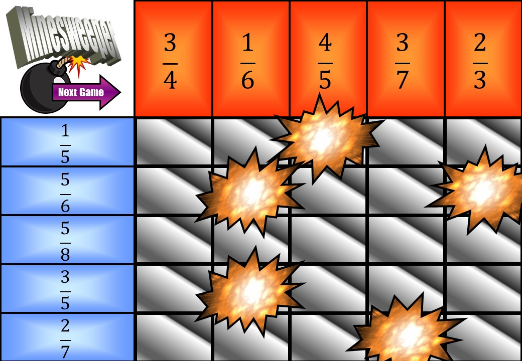 Fractions - Adding - Minesweeper