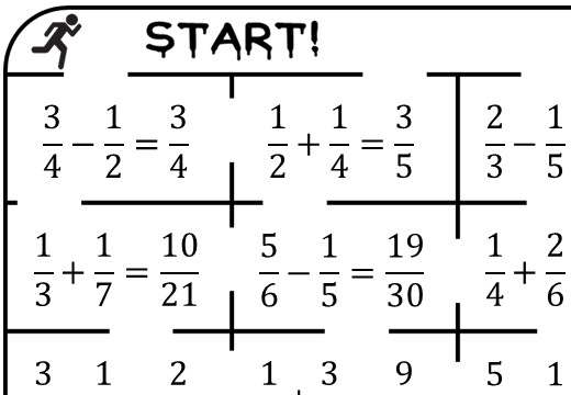 Fractions - Adding & Subtracting - True or False Maze