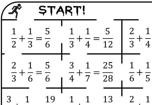Fractions - Adding - True or False Maze