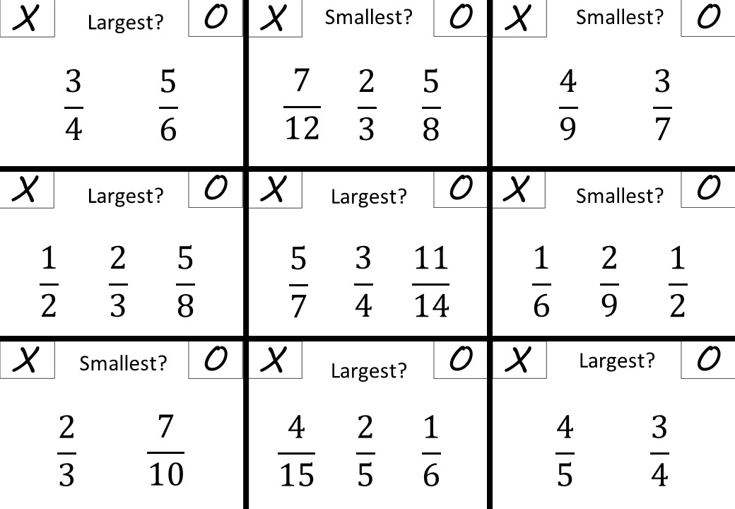 Fractions - Comparing - Noughts & Crosses