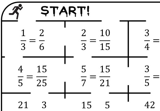 Fractions - Comparing - True or False Maze