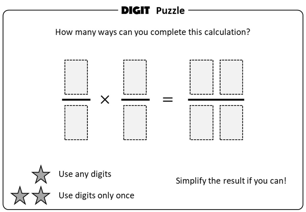 Fractions - Multiplying & Dividing - Digit Puzzle