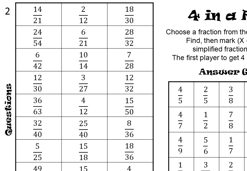 Fractions - Simplifying - Four in a Row