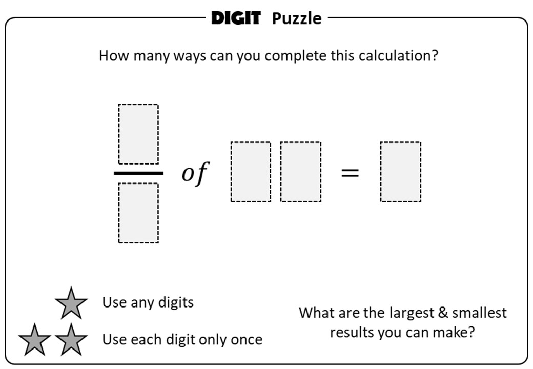 Fractions of Quantities - Digit Puzzle