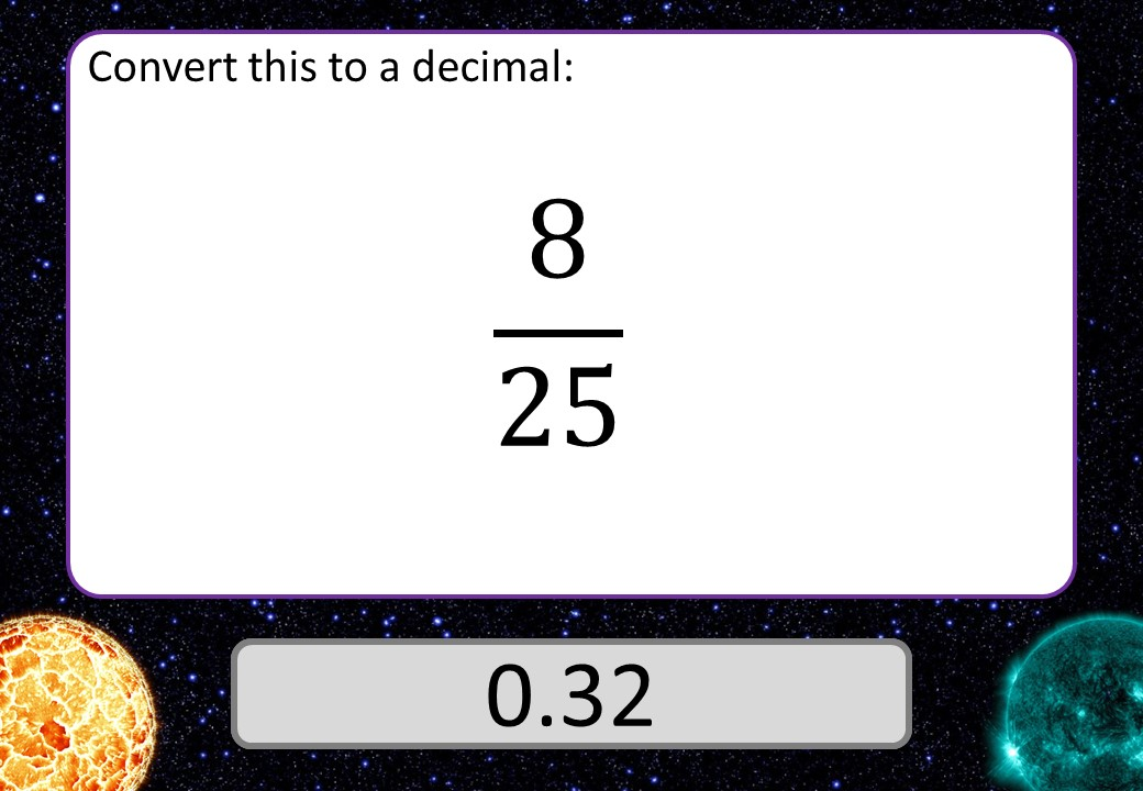 Fractions to Decimals - 3 Stars