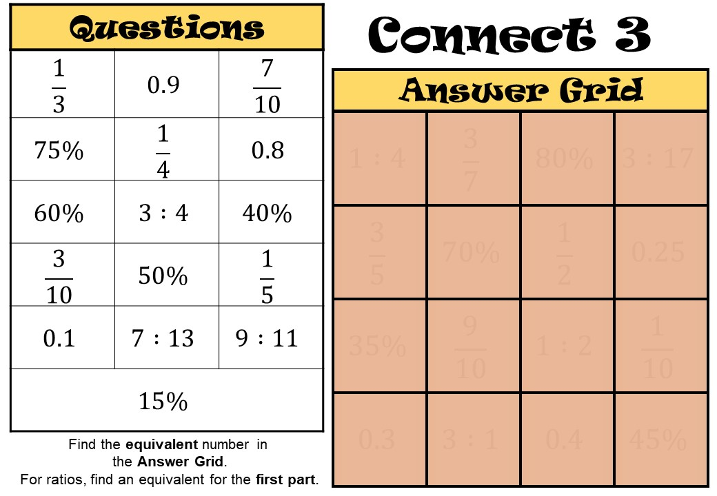 Fractions to Decimals to Percentages to Ratios - Connect 3