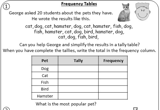 Frequency Tables & Tally Charts - Worksheet A