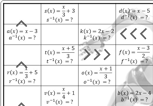 Functions - Inverse - Substitution - Worksheet A