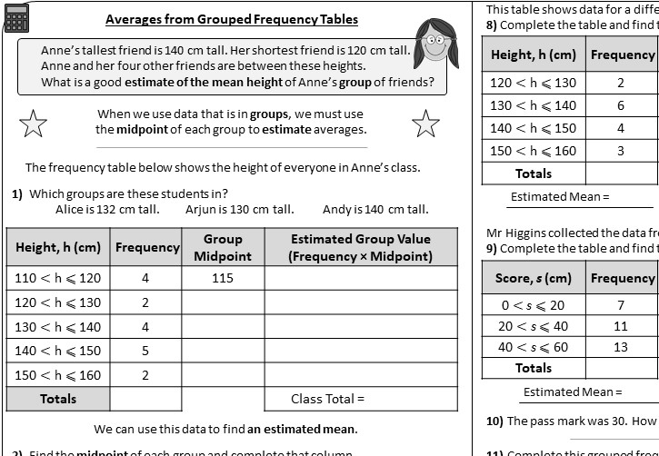 Grouped Frequency Tables - Averages - Worksheet A