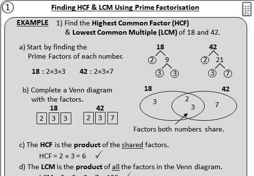HCF & LCM - Prime Factorisation - Worksheet A