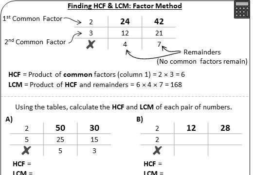 HCF & LCM - Prime Factorisation - Worksheet B