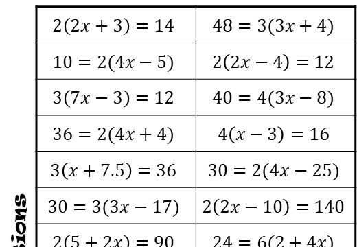 Linear Equations - Brackets - With Coefficients - Four in a Row
