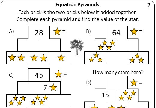 Linear Equations - Forming & Solving - Pyramids