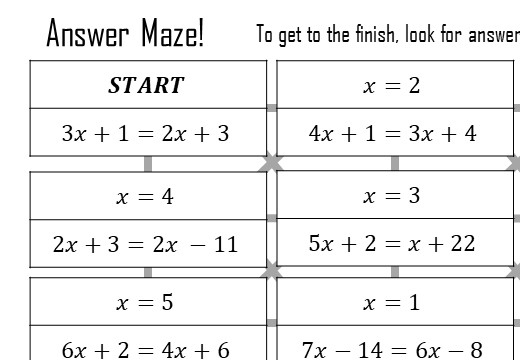 Linear Equations - Variable on Both Sides - Answer Maze
