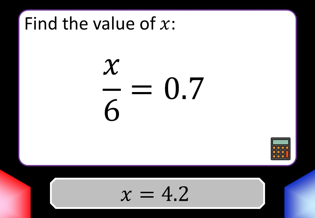 Linear Equations - Variable on One Side - 1-Step - Calculator - Blockbusters
