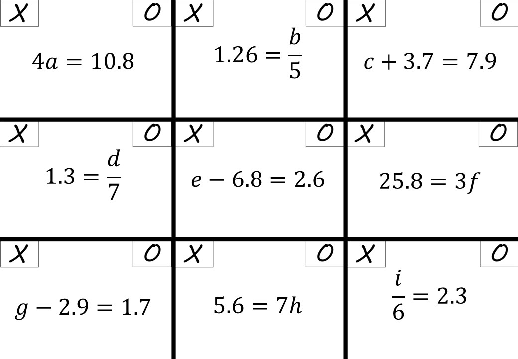 Linear Equations - Variable on One Side - 1-Step - Calculator - Noughts & Crosses