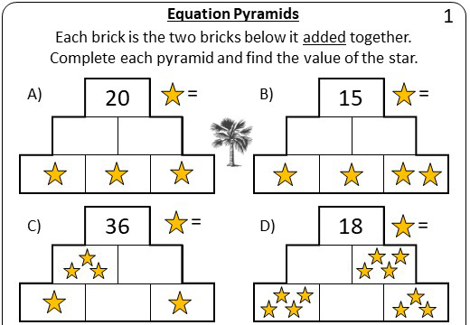 Linear Equations - Variable on One Side - 1-Step - Non-Calculator - Pyramids