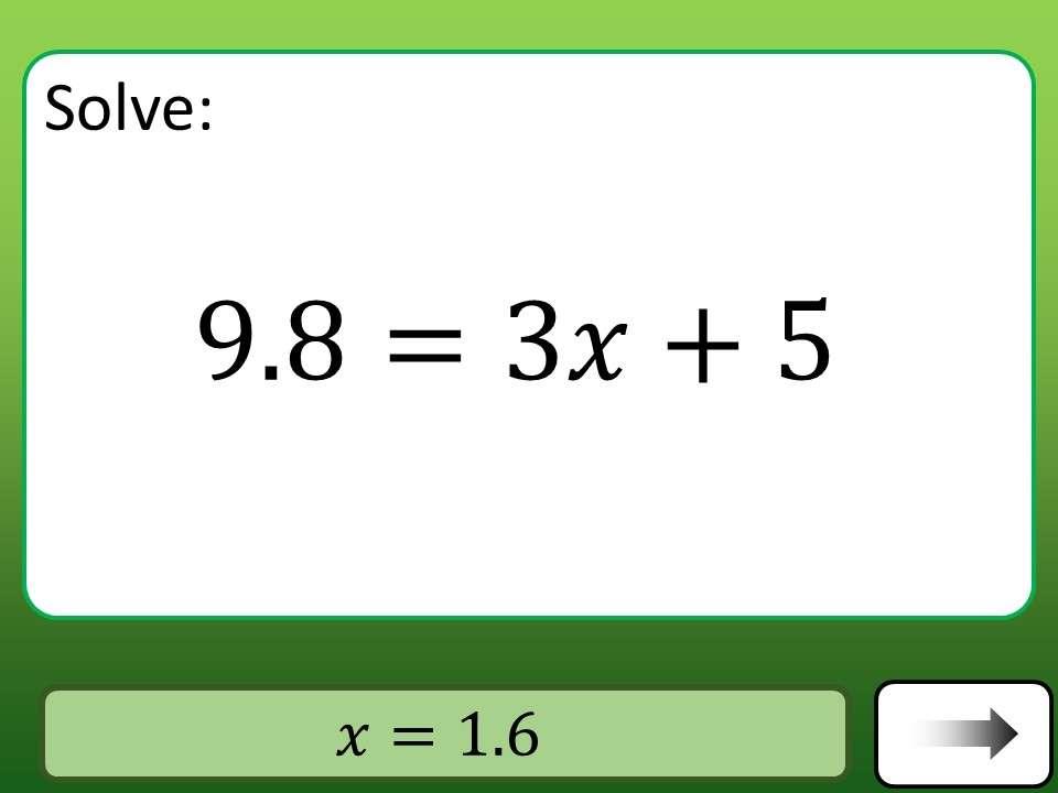 Linear Equations - Variable on One-Side - 2-Step - Calculator - Car Race