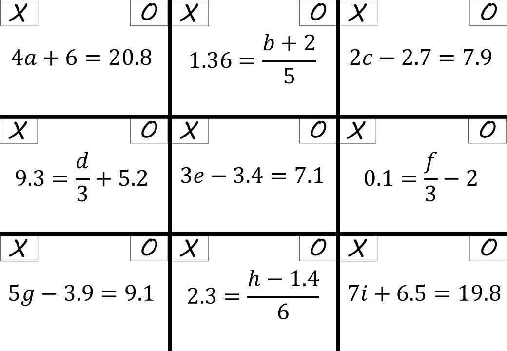 Linear Equations - Variable on One Side - 2-Step - Calculator - Noughts & Crosses
