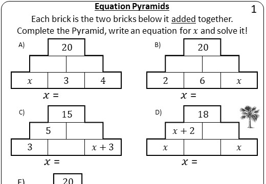 Linear Equations - Variable on One Side - 2-Step - Non-Calculator - Pyramids
