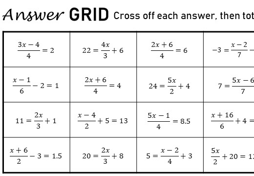 Linear Equations - Variable on One Side - 3-Step - Non-Calculator - Answer Grid