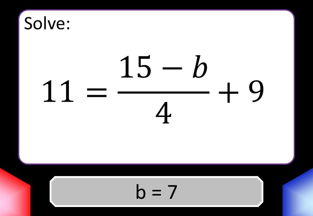 Linear Equations - Variable on One Side - 3-Step - Non-Calculator - Blockbusters