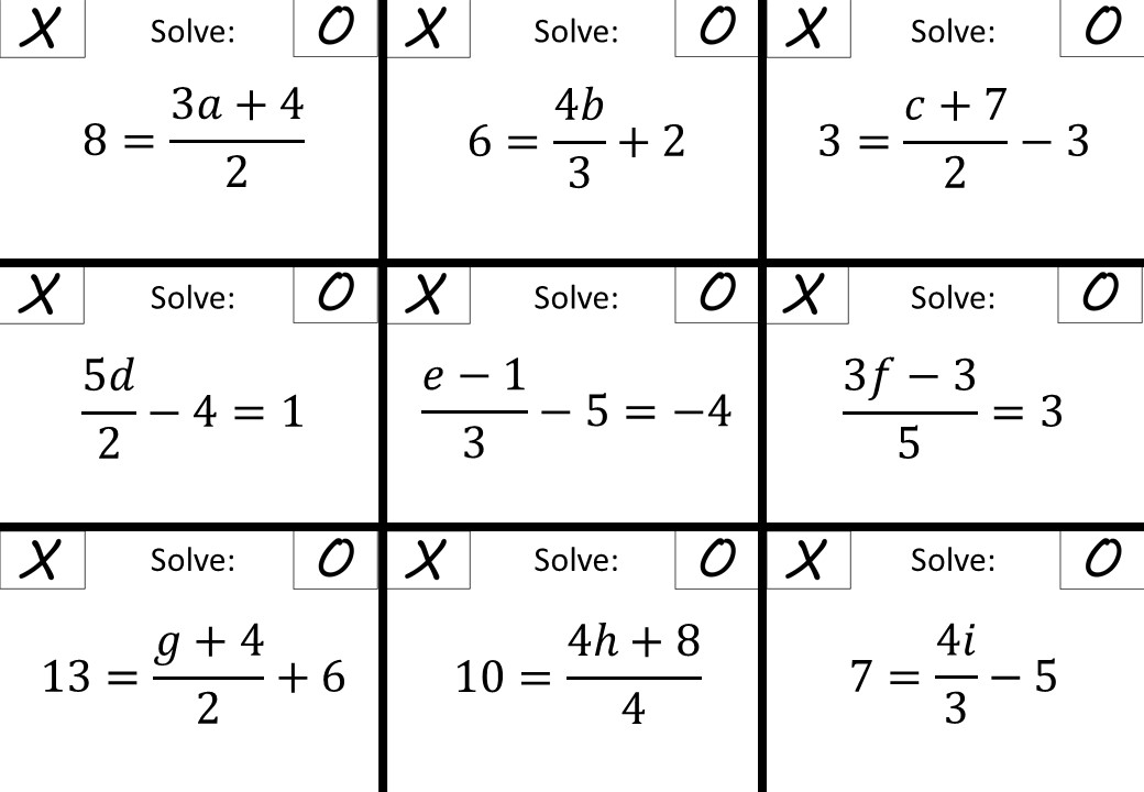 Linear Equations - Variable on One Side - 3-Step - Non-Calculator - Noughts & Crosses