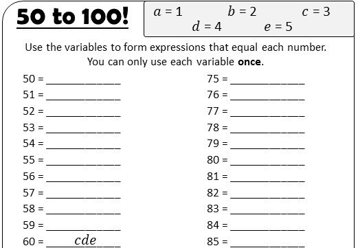 Linear Expressions - Forming - Worksheet A