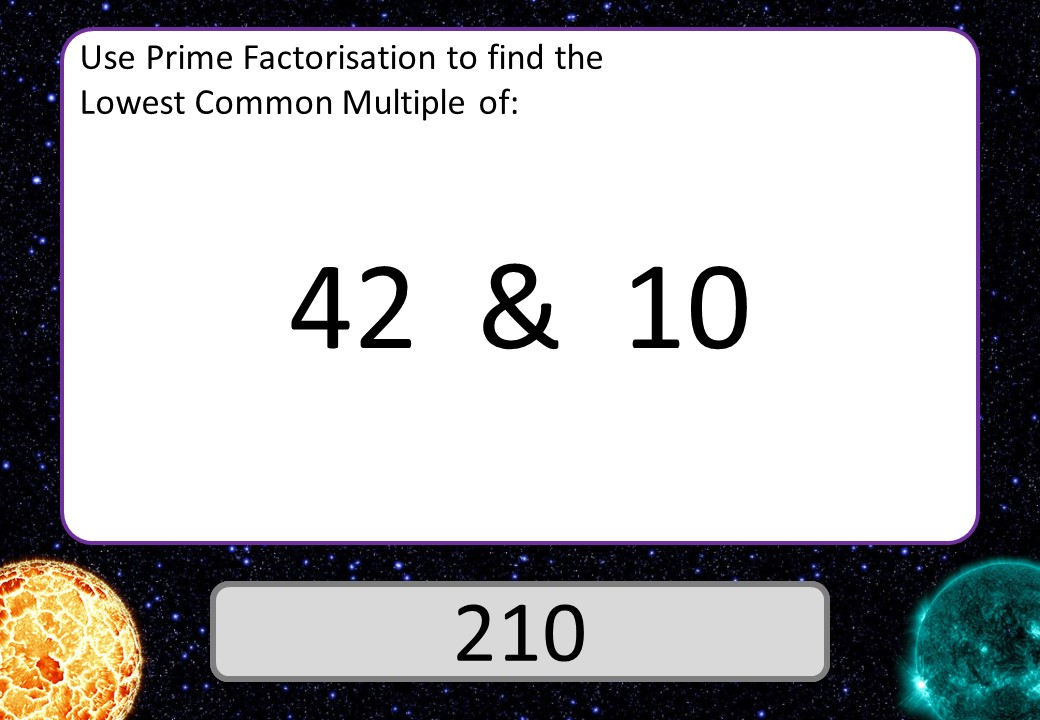 Lowest Common Multiples - Prime Factorisation - 3 Stars
