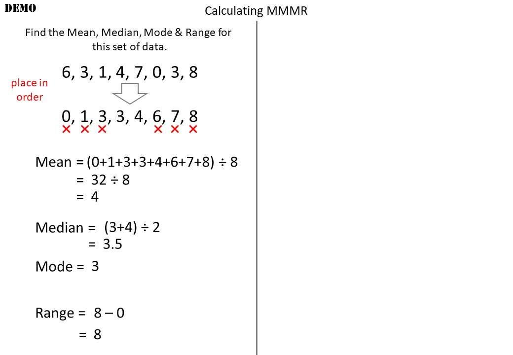 Mean, Median, Mode & Range - Demonstration