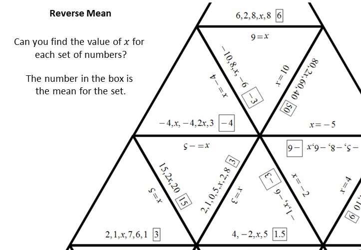 Mean - Reverse - Worksheet B