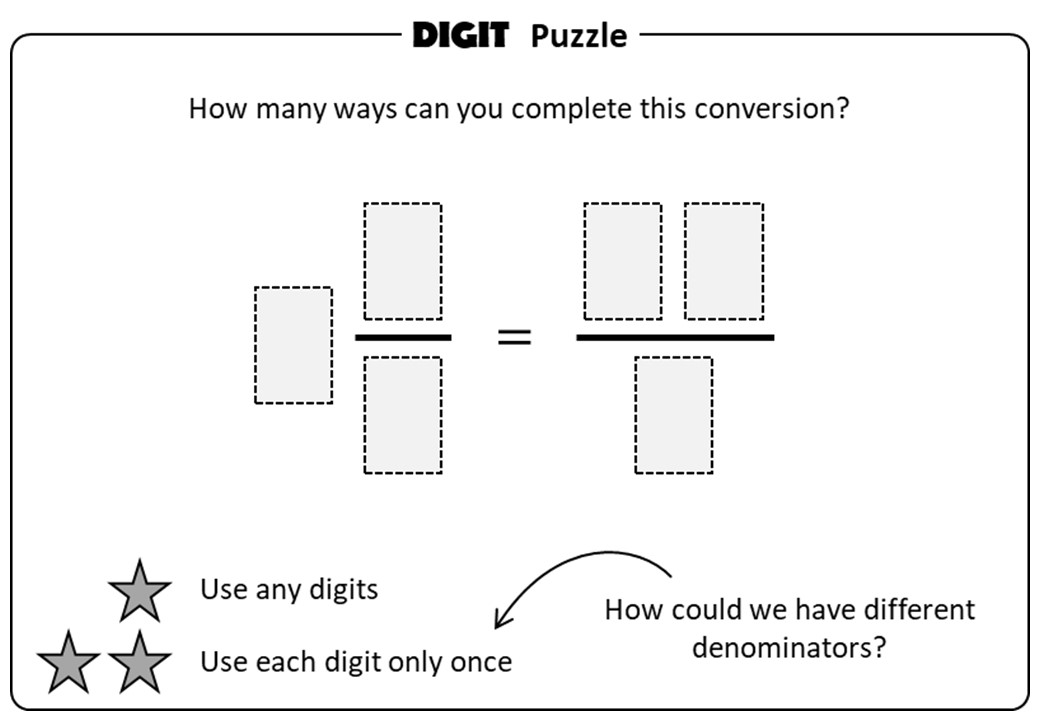 Mixed Numbers & Improper Fractions - Converting - Digit Puzzle