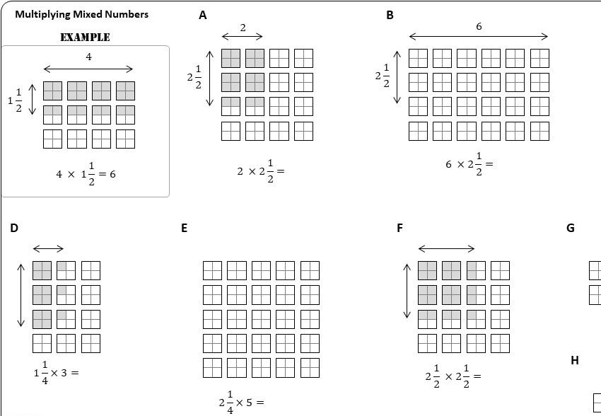 Mixed Numbers - Multiplying - Worksheet A