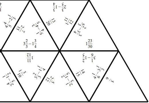 Mixed Numbers - Subtracting - Tarsia