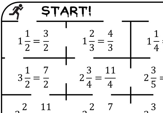 Mixed Numbers to Improper Fractions - True or False Maze