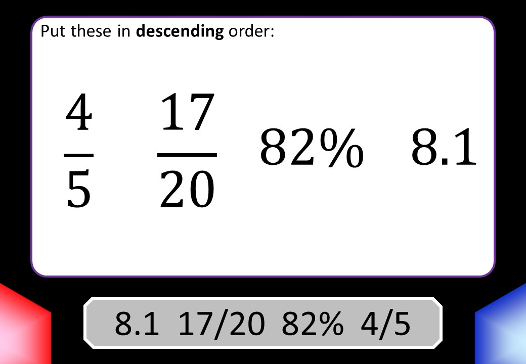 Ordering Fractions, Decimals & Percentages - Blockbusters
