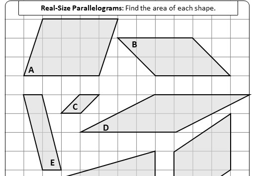 Parallelogram - Area - Worksheet A