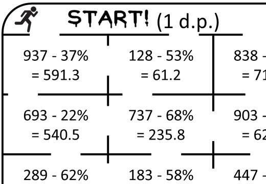 Percentage - Decrease - Calculator - True or False Maze