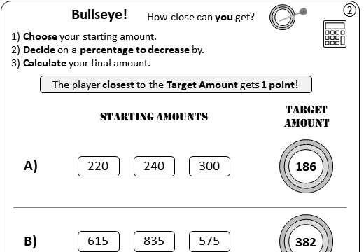 Percentage - Decrease - Calculator - Worksheet B