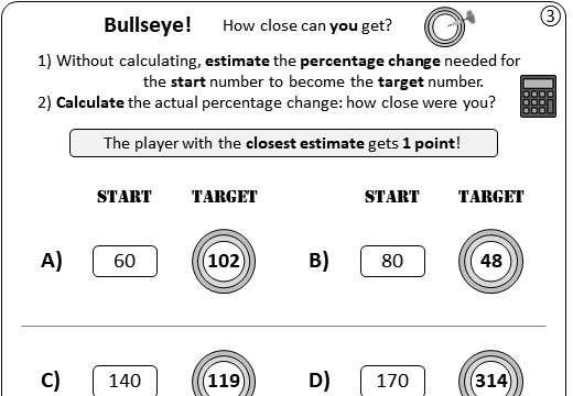Percentage - Expressing a Change - Calculator - Worksheet A