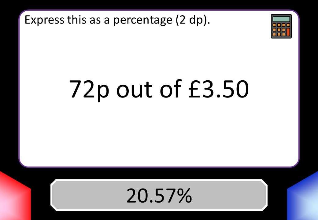 Percentage - Expressing a Quantity - Calculator - Blockbusters