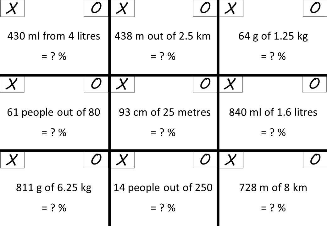 Percentage - Expressing a Quantity - Calculator - Noughts & Crosses