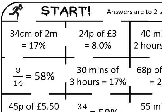 Percentage - Expressing a Quantity - Calculator - True or False Maze