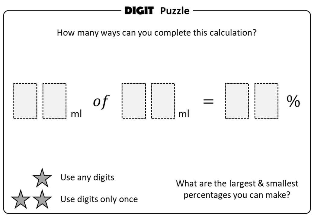 Percentage - Expressing a Quantity - Non-Calculator - Digit Puzzle