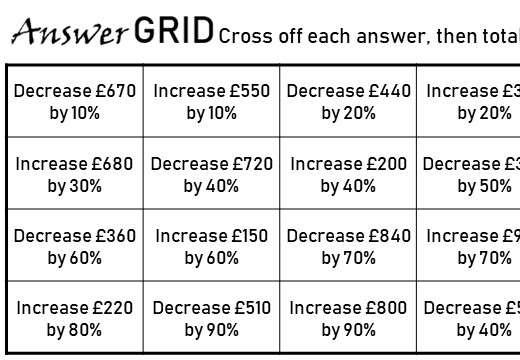 Percentage - Increase & Decrease - Answer Grid
