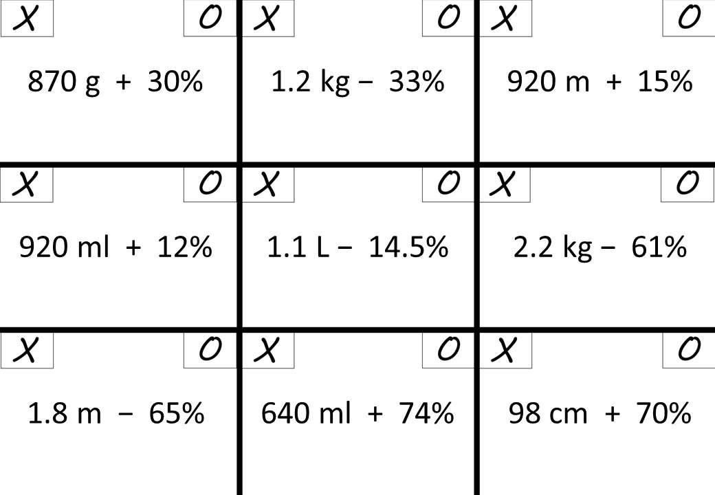 Percentage - Increase & Decrease - Calculator - Noughts & Crosses
