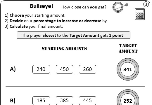 Percentage - Increase & Decrease - Calculator - Worksheet B