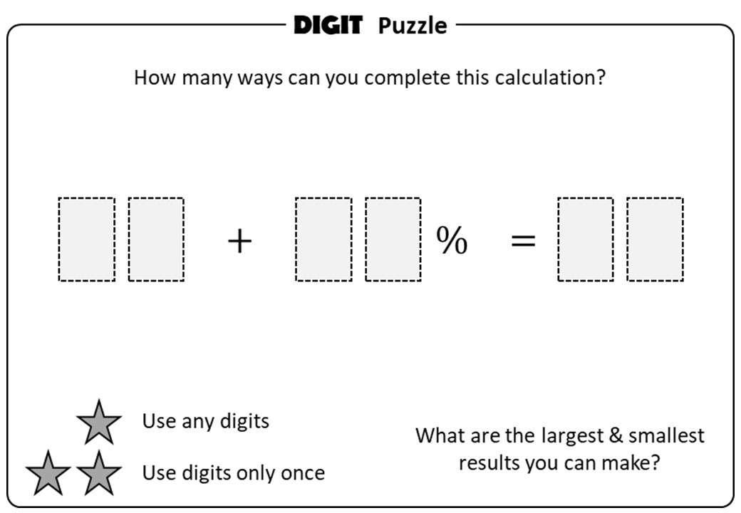 Percentage - Increase & Decrease - Digit Puzzle